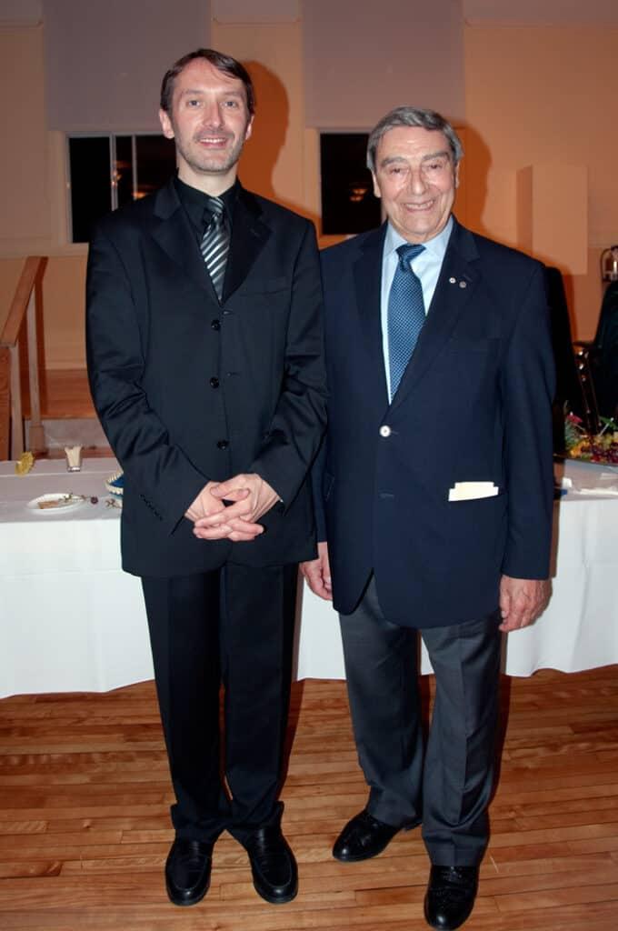 Noël Spinelli en compagnie d'Olivier Latry, titulaire des orgues de Notre-Dame de Paris